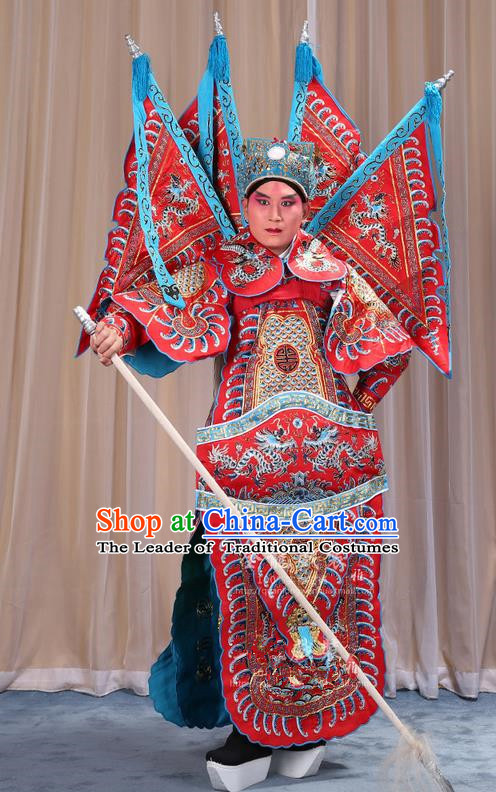 Traditional Chinese Beijing Opera Takefu Green Armour Red Clothing and Boots Complete Set, China Peking Opera Martial General Role Costume Embroidered Opera Costumes