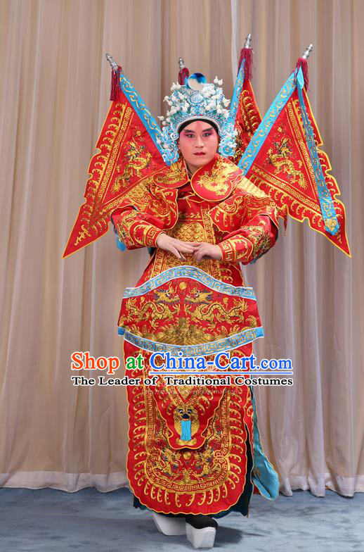 Traditional Chinese Beijing Opera Military Officer Red Armour Blue Clothing and Boots Complete Set, China Peking Opera Martial General Role Costume Embroidered Opera Costumes