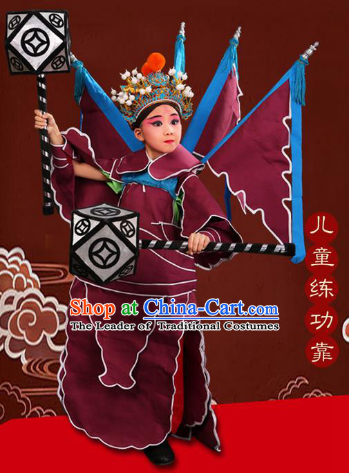 Traditional Chinese Beijing Opera Takefu Clothing Complete Set, China Peking Opera Martial General Role Costume Embroidered Opera Costumes for Kids