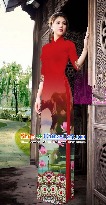Traditional Top Grade Asian Vietnamese Ha Festival Printing China Guilin Scenery Red Ao Dai Dress, Vietnam National Jing Nationality Cheongsam Costumes for Women