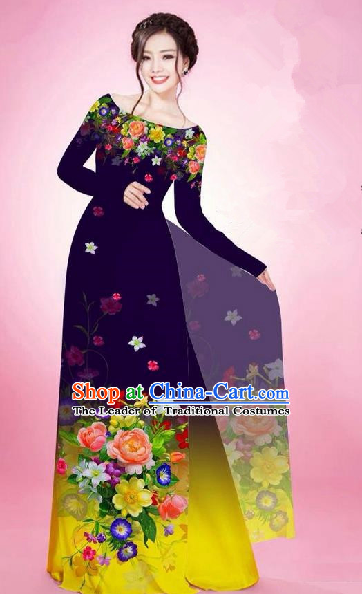 Traditional Top Grade Asian Vietnamese Ha Festival Printing Flowers Deep Purple Ao Dai Dress, Vietnam National Jing Nationality Off Shoulder Cheongsam Costumes for Women