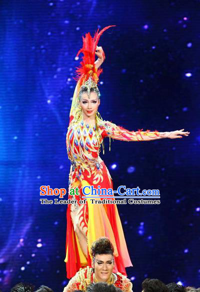 Traditional Chinese Nationality Dance Costume, Female Auspicious Bird Dance Dress, Chinese Minority Nationality Feather Clothing for Women
