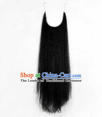 Chinese Ancient Opera Old Men Black Long Wig Beard Whiskers, Traditional Chinese Beijing Opera Props Laosheng-role Mustache