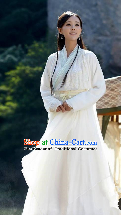 Traditional Chinese Song Dynasty Young Lady Costumes and Handmade Headpiece Complete Set, The Legend of The Condor Heroes Ancient Swordswoman Dress Hanfu Clothing