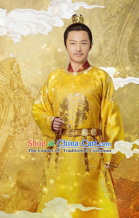 Traditional Chinese Ancient Imperial Emperor Costume, China Song Dynasty Majesty King Dragon Robes Clothing for Men