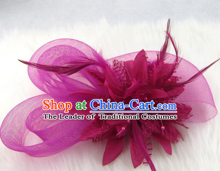 Top Modern Dance Hair Accessories Hair Clasp, Female Rose Feather Veil Ornament Headband for Women