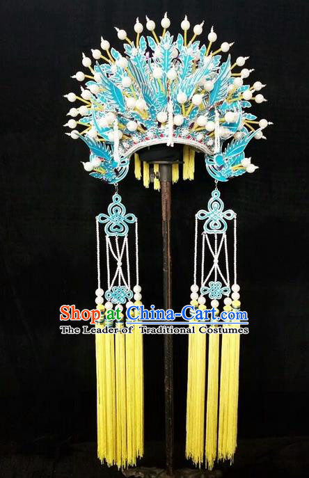 Traditional Chinese Peking Opera Handmade Three Phoenix Coronet, China Beijing Opera Imperial Consort High-grade Headwear Bride Phoenix Coronet for Women