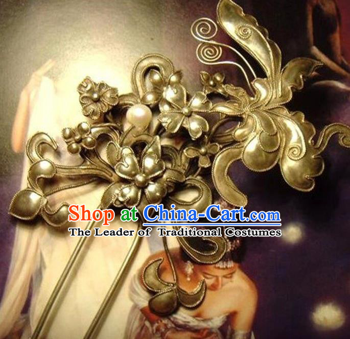 Traditional Chinese Ancient Classical Handmade Hair Accessories Hanfu Headwear Love of Butterfly Hairpin for Women