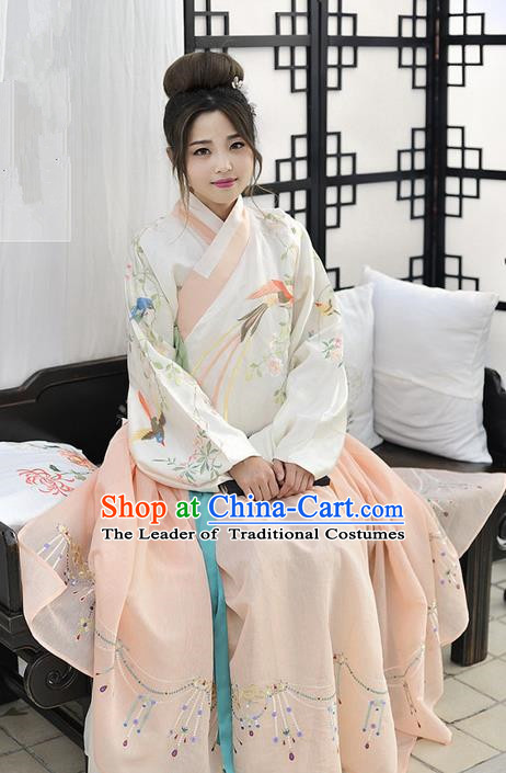 Traditional Chinese Ancient Ming Dynasty Noble Lady Costumes, China Princess Hanfu Embroidered Slant Opening Blouse and Ru Skirt Complete Set for Women