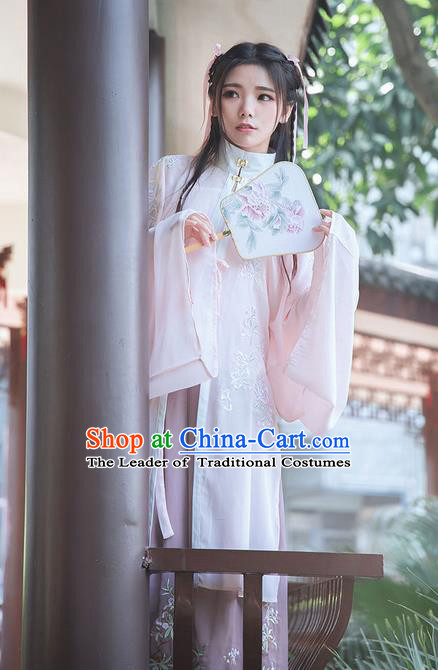 Traditional Chinese Ancient Ming Dynasty Young Lady Costumes, China Princess Hanfu Cardigan Embroidered Blouse and Ru Skirt Complete Set for Women