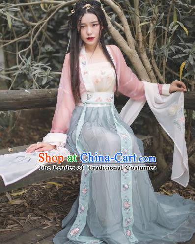 Traditional Chinese Ancient Tang Dynasty Young Lady Costumes, China Princess Hanfu Embroidered Suspenders Blouse and Ru Skirt Complete Set for Women