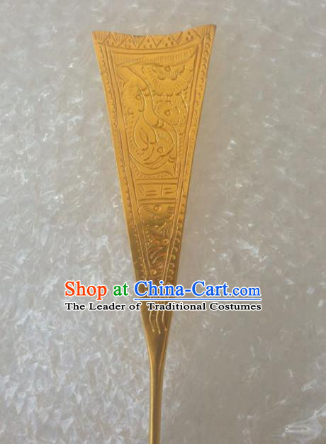 Traditional Chinese Ancient Classical Miao Silver Handmade Hair Accessories Golden Hairpin for Women
