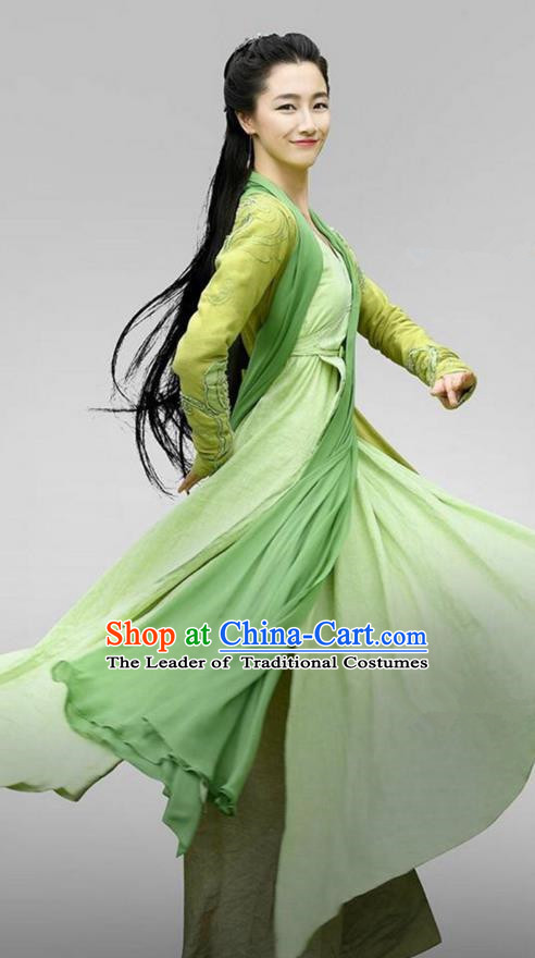Chinese Ancient Tang Dynasty Swordsman Costume, Traditional Chinese Ancient Peri Swordswoman Heroine Costume and Headpiece Complete Set for Women