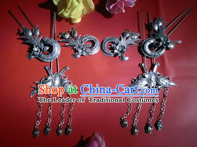 Traditional Handmade Chinese Ancient Classical Hair Accessories Barrettes Butterfly Tassel Hairpin, Manchu Princess Step Shake Hair Claws Hairpins Complete Set for Women