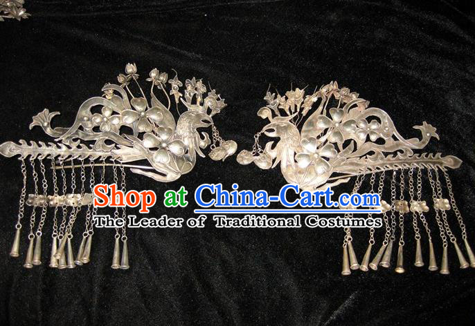 Traditional Handmade Chinese Ancient Classical Hair Accessories Barrettes Phoenix Hairpin, Han Dynasty Queen Twain Sliver Step Shake Hair Fascinators Hairpins for Women