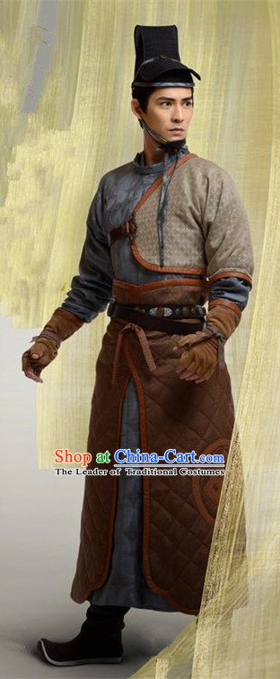 Chinese Ancient Tang Dynasty Swordsman Costume and Headpiece Complete Set, Traditional Chinese Ancient Imperial General Robes for Men