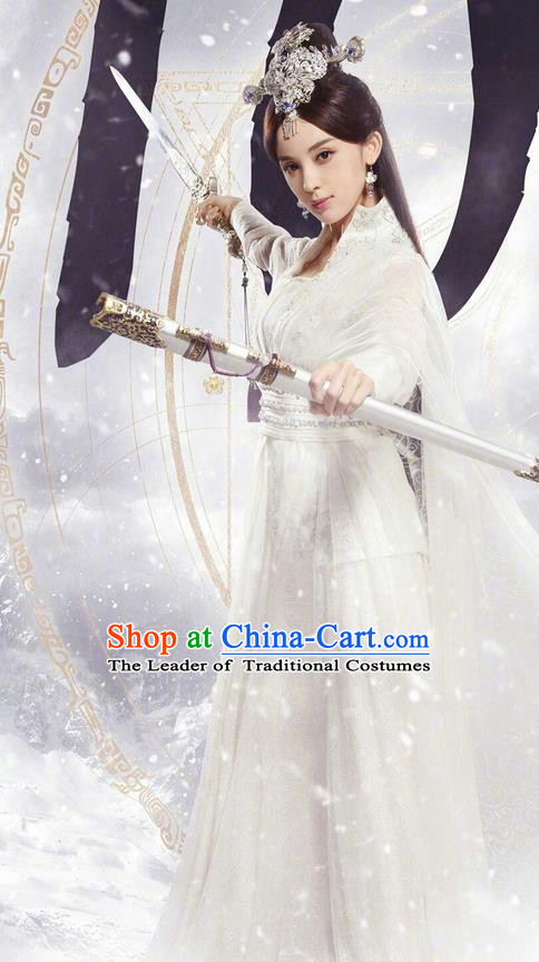 Chinese Ancient Tang Dynasty Peri Saintess Costume and Headwear, Fighter of the Destiny Traditional Chinese Ancient Princess Swordswoman Clothing Complete Set