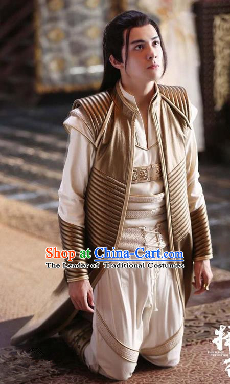 Chinese Ancient Tang Dynasty Nobility Childe Costume and Headpiece Complete Set, Fighter of the Destiny Traditional Chinese Ancient Swordsman Toff Clothing for Men