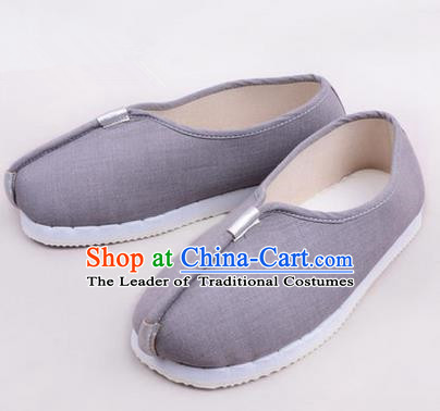 Chinese Shoes Wedding Shoes Kung Fu boots Wushu Shoes Men Shoes, Opera Shoes Hanfu Shoes Embroidered Shoes Grey Monk Shoes