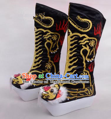 Chinese Ancient Peking Opera King Embroidered High Leg Boots, Traditional China Beijing Opera Emperor Black Embroidered Tiger-head High Sole Shoes
