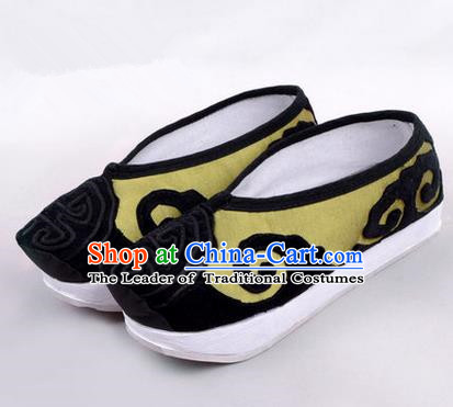 Chinese Ancient Peking Opera Huangmei Opera Old Men High Sole Shoes, Traditional China Beijing Opera Male Milord Green Embroidered Shoes