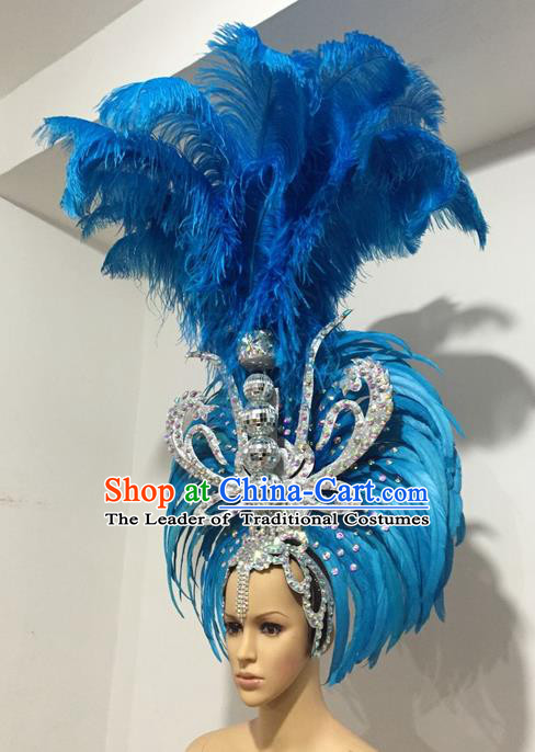 Top Grade Professional Stage Show Giant Headpiece Parade Giant Blue Feather Hair Accessories Decorations, Brazilian Rio Carnival Samba Opening Dance Headwear for Women