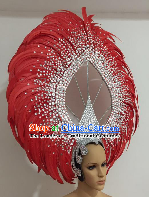 Top Grade Professional Stage Show Giant Headpiece Parade Giant Red Feather Crystal Hair Accessories Decorations, Brazilian Rio Carnival Samba Opening Dance Headwear for Women