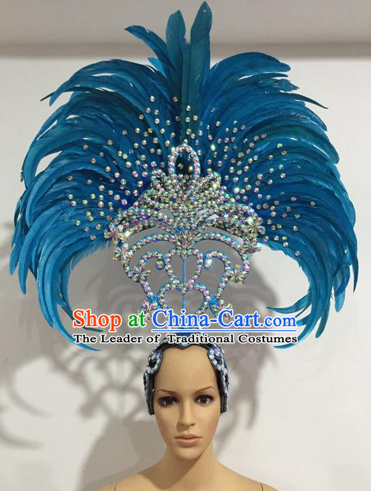 Top Grade Professional Stage Show Giant Headpiece Parade Giant Blue Feather Crystal Hair Accessories Decorations, Brazilian Rio Carnival Samba Opening Dance Headwear for Women