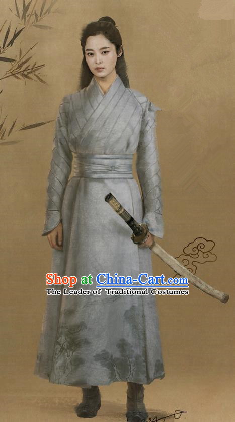 Traditional Ancient Chinese Swordswoman Costume, Films Brotherhood of Blades Chinese Ming Dynasty Heroine Hanfu Clothing and Handmade Headpiece Complete Set