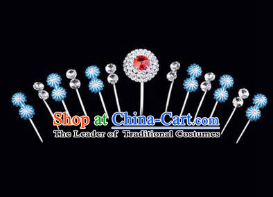 Chinese Ancient Peking Opera Hair Accessories Young Lady Headwear Complete Set, Traditional Chinese Beijing Opera Head Ornaments Hua Tan Crystal Red Hairpins