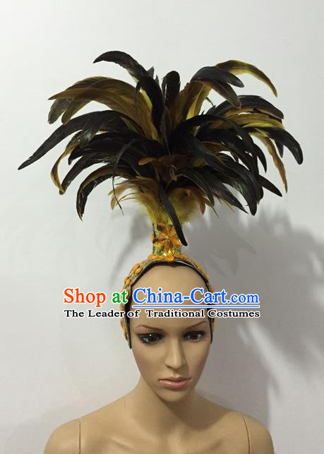 Top Grade Professional Stage Show Halloween Parade Yellow Feather Headwear, Brazilian Rio Carnival Samba Dance Modern Fancywork Hair Accessories Headpiece for Women