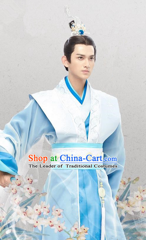 Traditional Chinese Ancient Warring States Time Nobility Childe Costumes, Song of Phoenix Chu State Dandies Hanfu Clothing and Handmade Headpiece Complete Set