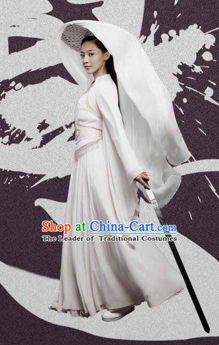 Traditional Chinese Northern and Southern Dynasties Swordswoman Costume, Princess Agents China Ancient Palace Lady Princess Clothing and Headpiece Complete Set