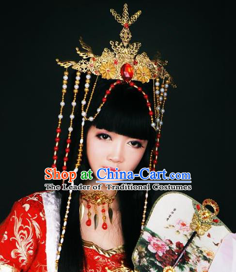 Top Grade Traditional China Ancient Cosplay Hair Accessories, China Ancient Wedding Bride Princess Headpiece Headwear for Women