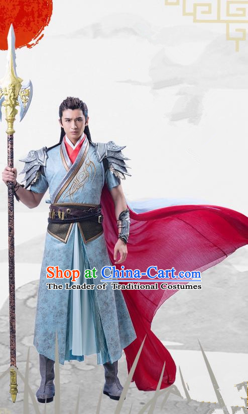 Traditional Ancient Chinese Tang Dynasty General Swordsman Costume, Xuanyuan Sword Han Cloud Imperial Warrior Coat Armor Clothing Complete Set