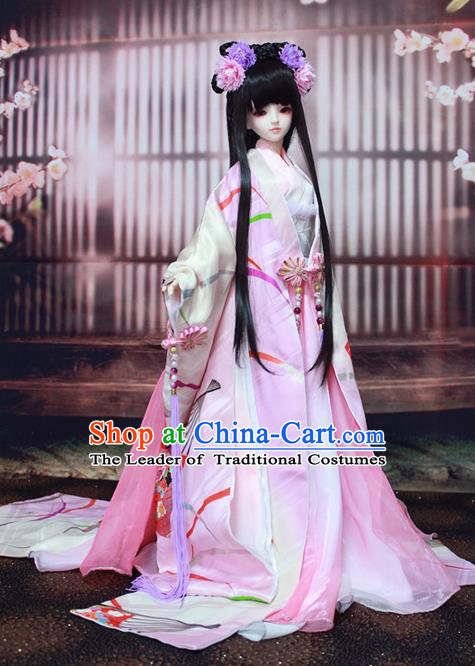 Top Grade Traditional China Ancient Female Kimono Costumes Complete Set, China Ancient Cosplay Tang Dynasty Princess Pink Dress Hanfu Clothing for Adults and Kids