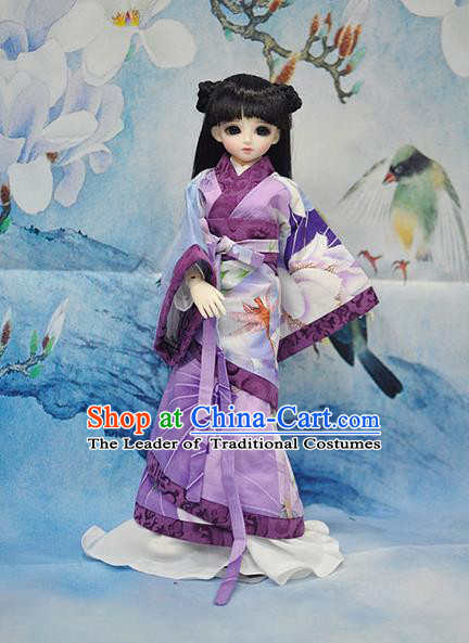 Top Grade Traditional China Ancient Princess Dance Costumes Complete Set, China Ancient Cosplay Han Dynasty Princess Purple Dress Hanfu Clothing for Adults and Kids