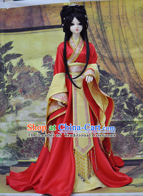 Top Grade Traditional China Ancient Princess Dance Costumes Complete Set, China Ancient Cosplay Tang Dynasty Princess Red Dress Hanfu Clothing for Adults and Kids