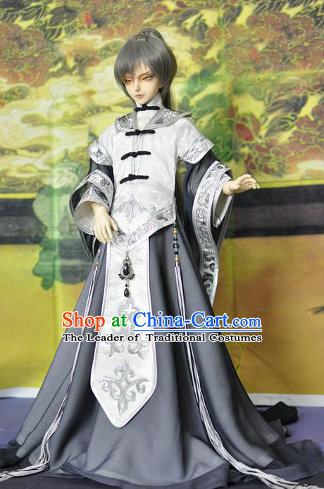 Top Grade Traditional China Ancient Cosplay Swordsman White Costumes Complete Set, China Ancient Taoist Royal Highness Hanfu Robe Clothing for Men for Kids