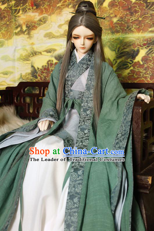 Top Grade Traditional China Ancient Fairy Costumes Complete Set, China Ancient Cosplay Tang Dynasty Princess Green Dress Hanfu Clothing for Adults and Kids