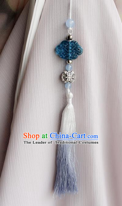 Top Grade Traditional China Ancient Palace Blue Jade Pendant, China Ancient Swordsman Waist Pendant