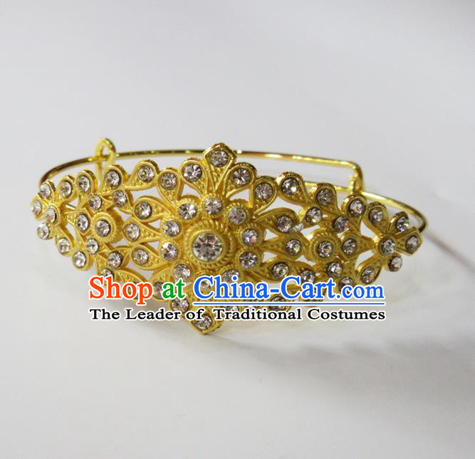 Traditional Thailand Ancient Handmade Jewelry Accessories Bracelet, Traditional Thai China Dai Nationality Crystal Bangle for Women