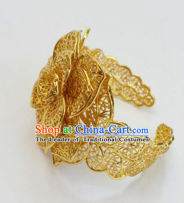 Traditional Thailand Ancient Handmade Jewelry Accessories Bracelet, Traditional Thai China Dai Nationality Wedding Bangle for Women