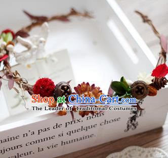 Top Grade Handmade Wedding Queen Hair Accessories, Traditional Princess Flowers Hair Clasp Wedding Headwear for Women
