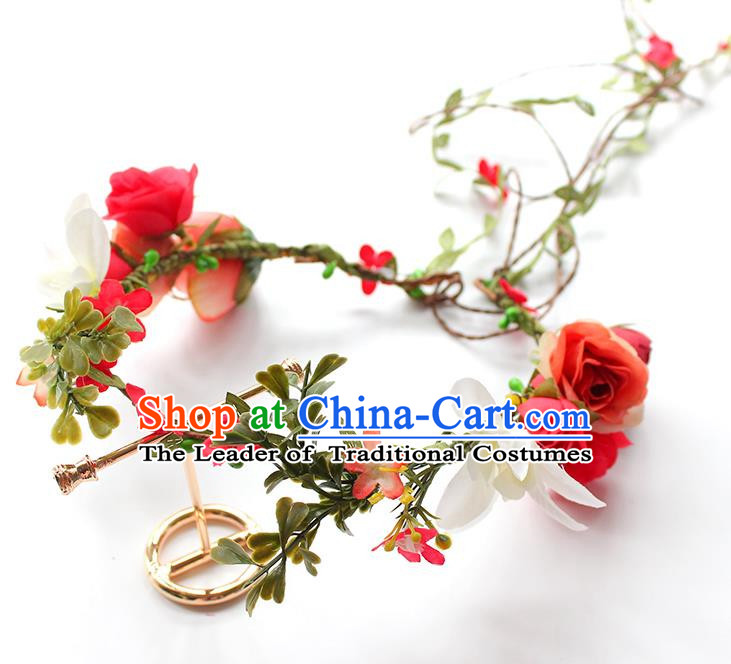 Top Grade Handmade Wedding Bride Hair Accessories, Traditional Princess Flowers Hair Clasp Wedding Headwear for Women