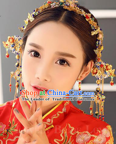 Top Grade Chinese Handmade Wedding Jade Hair Accessories and Earrings, Traditional China Xiuhe Suit Phoenix Coronet Bride Headwear Hairpins Complete Set for Women