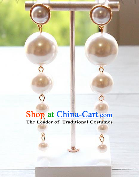 Top Grade Handmade Wedding Bride Accessories Earrings, Traditional Princess Wedding Long Tassel Pearl Eardrop for Women