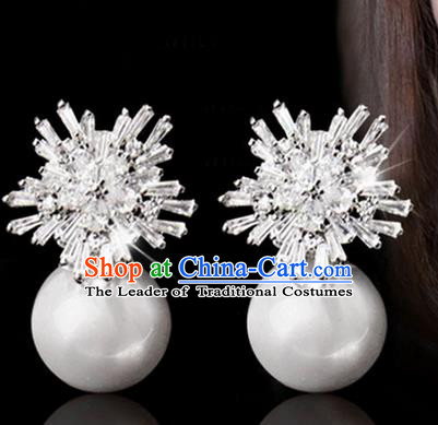 Top Grade Handmade Wedding Bride Accessories Pearl Earrings, Traditional Princess Wedding Crystal Eardrop for Women