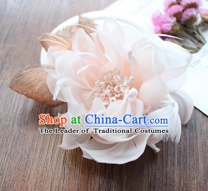 Top Grade Handmade Wedding Bride Hair Accessories Headwear, Traditional Princess Baroque Feather Pink Flower Hairpin Wedding Headpiece for Women