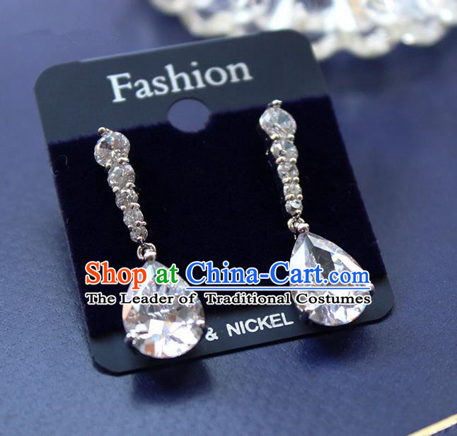 Top Grade Handmade Wedding Bride Accessories Earrings, Traditional Princess Baroque Wedding Crystal Eardrop for Women